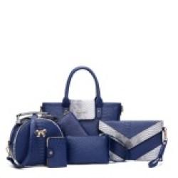 2017 Spring Baru Tas Wanita Eropa dan Amerika Serikat Fashion Pola Buaya Ibu Tas Enam Set Bahu Diagonal Handbags (Warna: Biru)-Intl