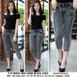 ✅COD BIA - Celana Jeans Wanita - Jeans 7/9 Tulang Coura Black Snow - Softjeans Streach