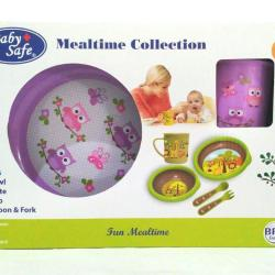 Baby Safe Feeding Mealtime Collection (Set Alat Makan Bayi) BPA Free - Ungu Owl