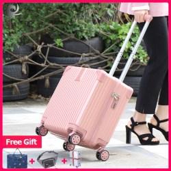 (Hadiah gratis) koper retro kasus troli kecil kasus perjalanan kata sandi bahan ABS berkualitas tinggi (42 * 23 * 38 CM)
