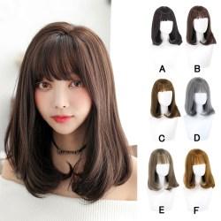 ã€Dikirim dari ID COD】Wig Muda 45 Cm Untuk Wanita Rambut Panjang Sedang Tombol Di Dalam Wig Volume Mikro Palsu Ikal Poni Wig fashion