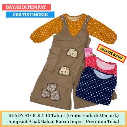 Baju Anak Anak Perempuan 1-10 Tahun Terbaru Model Overall Celana Kulot Panjang Kodok Bonus Kaos Manset Panjang Warna (Coklat Hitam) Polos PROMO MURAH