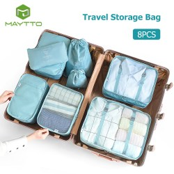 Maytto Champ Travel Clothing Pouch Luggage Storage Bags Organizer Laundry Sleeves 8PCS Set Compact Storage Packing Bag Clothes Storage Travel Luggage Organizer Pockets