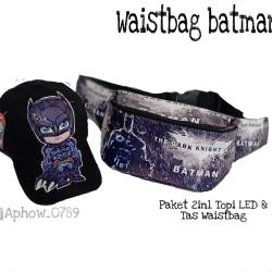 2in1 Topi LED & Tas Waistbag BATMAN - Tas Waistbag Anak/Topi LED Karakter