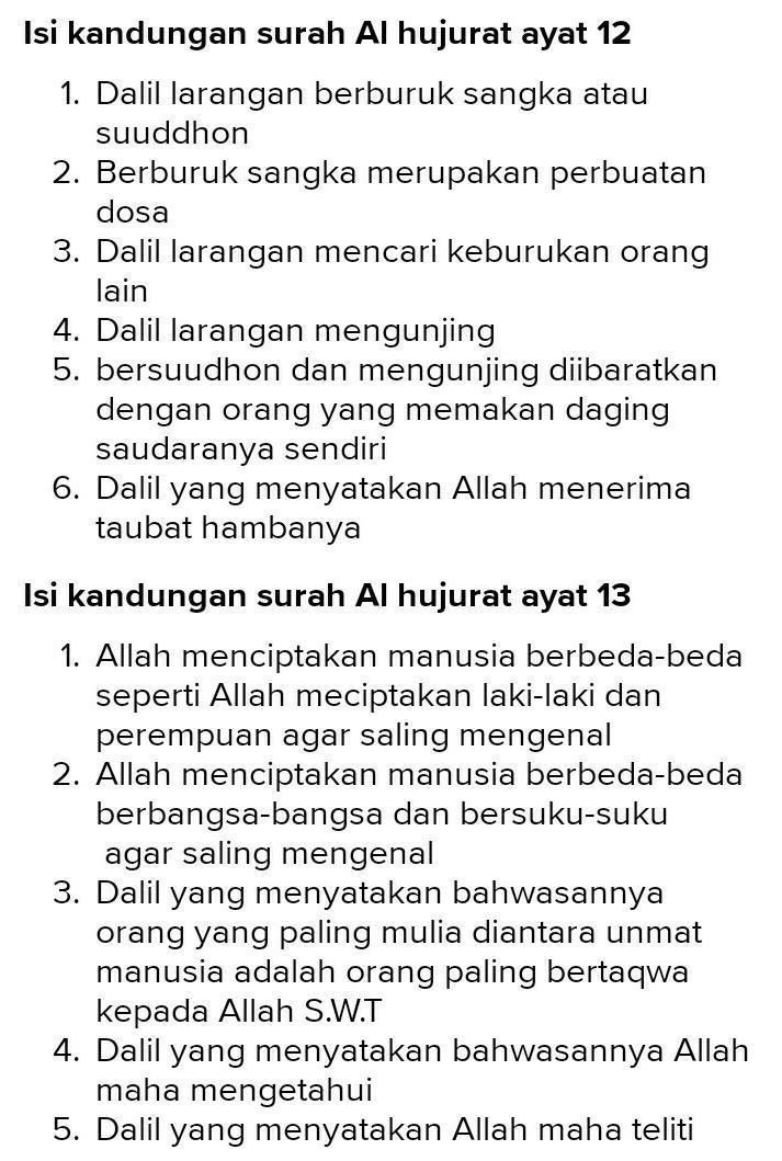 Isi Kandungan Al Hujurat Ayat 12 : kandungan, hujurat, Tuliskan, Kandungan, Hujurat, Brainly.co.id