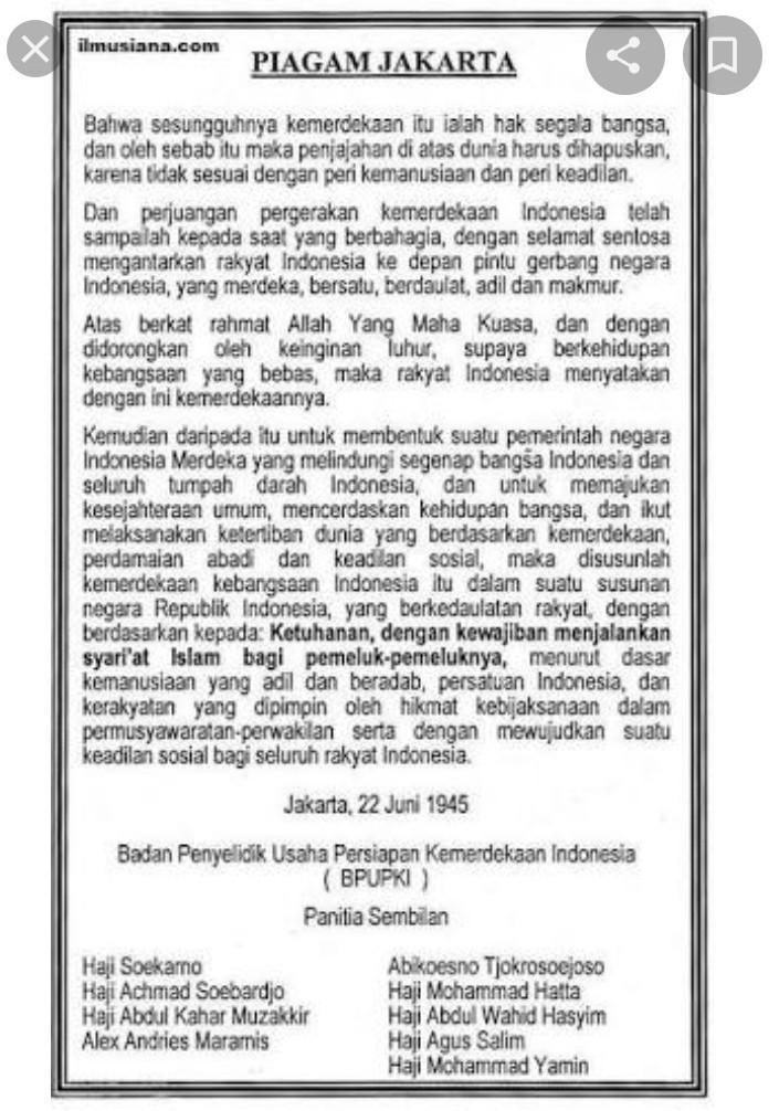 Sebutkan Isi Piagam Jakarta : sebutkan, piagam, jakarta, Tulis, Piagam, Jakarta, Brainly.co.id