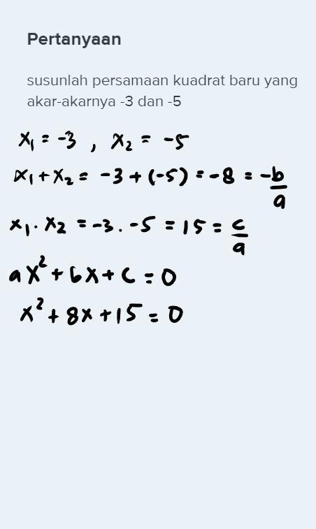 Rumus Persamaan Kuadrat Baru : rumus, persamaan, kuadrat, Susunlah, Persamaan, Kuadrat, Akar-akarnya, Brainly.co.id