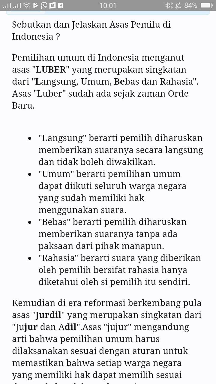 Sebutkan Asas Pemilu Di Indonesia : sebutkan, pemilu, indonesia, Sebutkan, Pemilu, Brainly.co.id