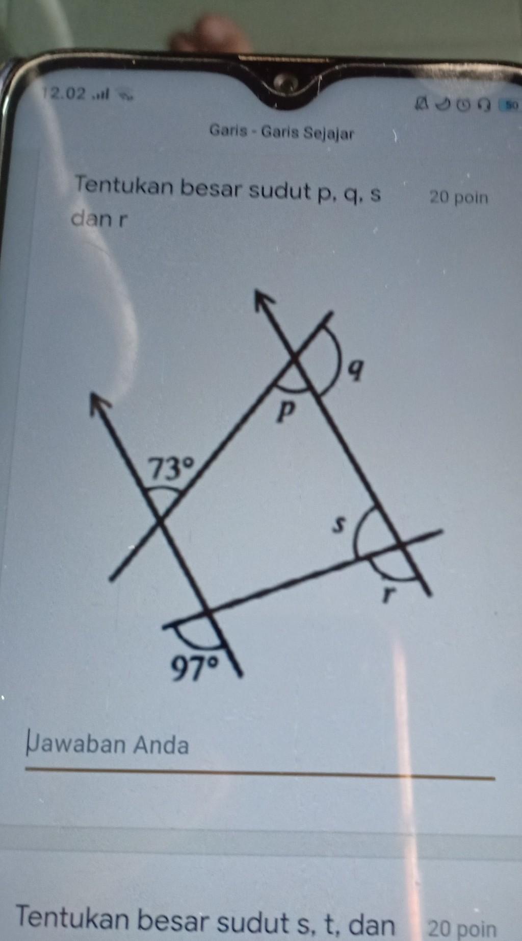 Tentukan Besar Sudut P : tentukan, besar, sudut, Tentukan, Besar, Sudut, P,q,s, Brainly.co.id