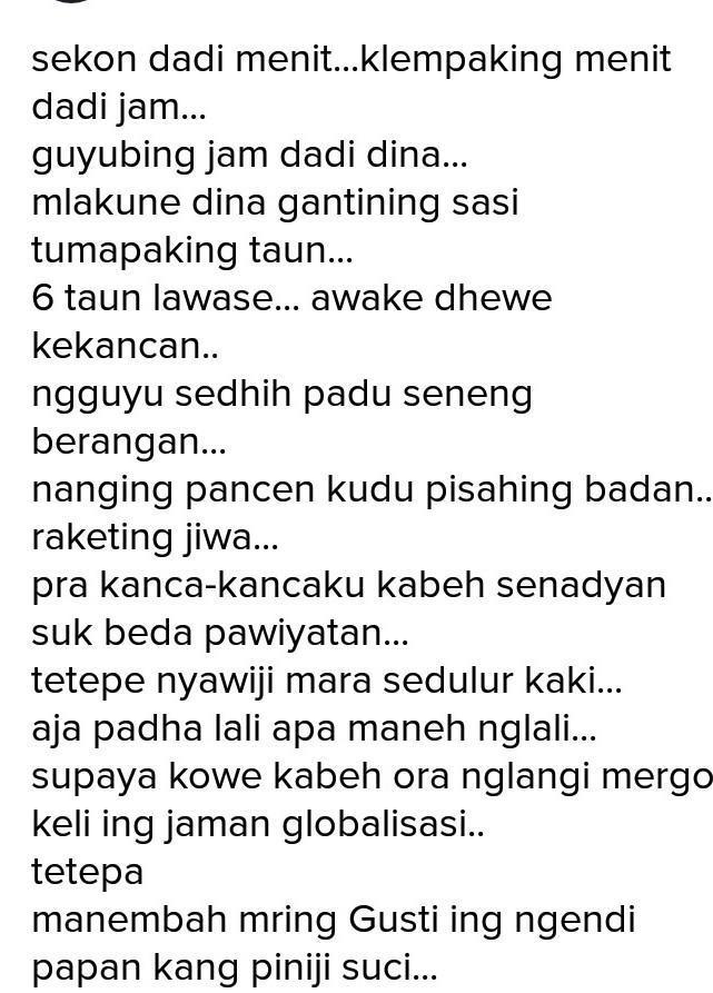 Geguritan Bahasa Jawa Singkat : geguritan, bahasa, singkat, Geguritan, Bahasa, Perpisahan, Kelas, Brainly.co.id
