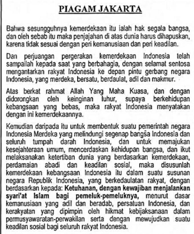 Sebutkan Isi Piagam Jakarta : sebutkan, piagam, jakarta, Piagam, Jakarta, Sidang, Pertama, Brainly.co.id