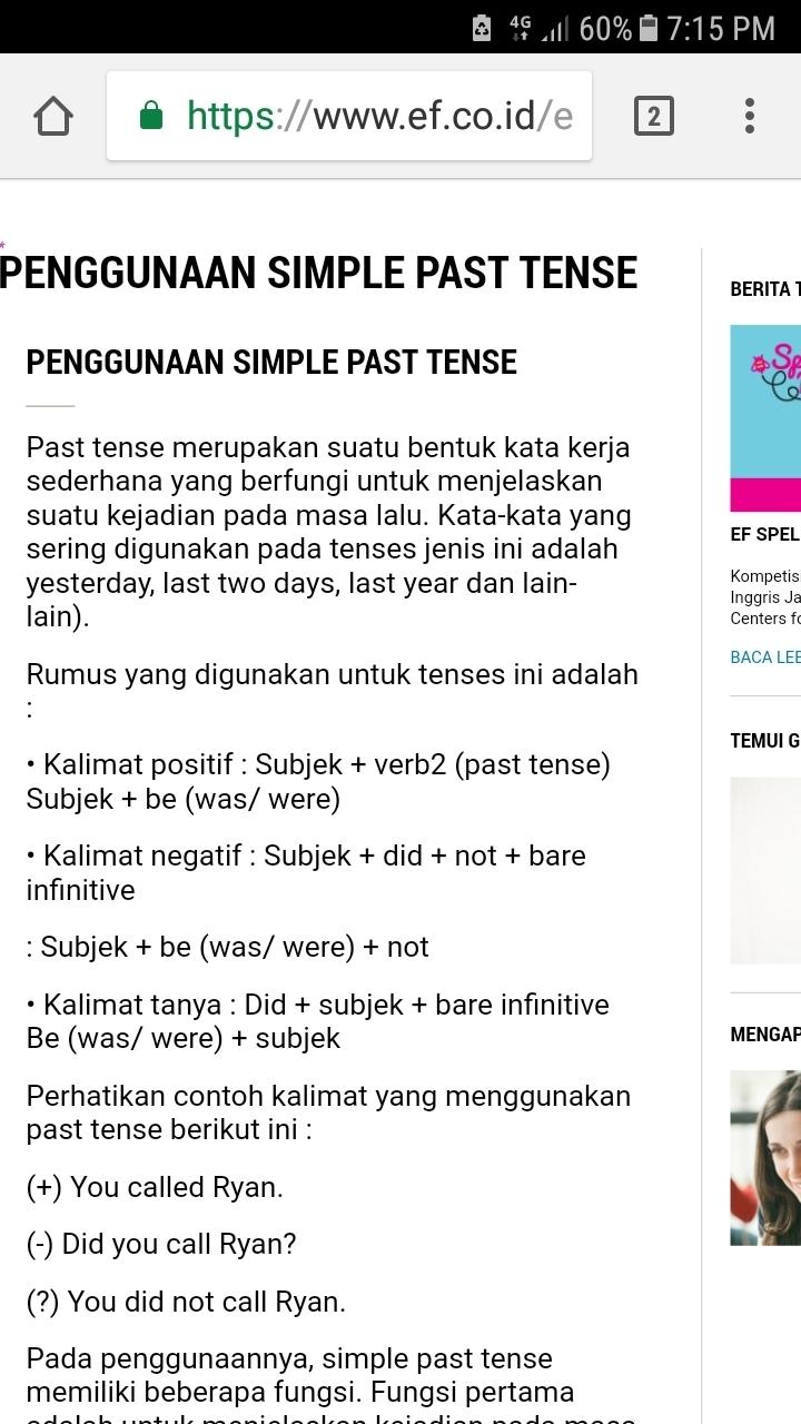 Contoh Kalimat Simple Past Tense Positif, Negatif Dan Tanya : contoh, kalimat, simple, tense, positif,, negatif, tanya, Simple, Tense, Menggunakan, Kerja(+), Kalimat, Positif(-), Negatif(?), Brainly.co.id