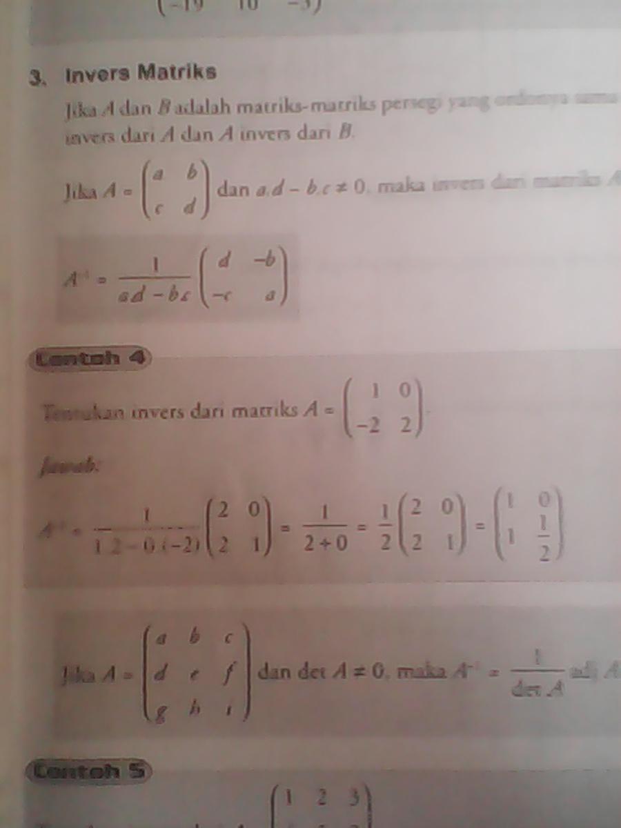 Contoh Soal Invers Matriks Ordo 2x2 : contoh, invers, matriks, Contoh, Invers, Brainly.co.id