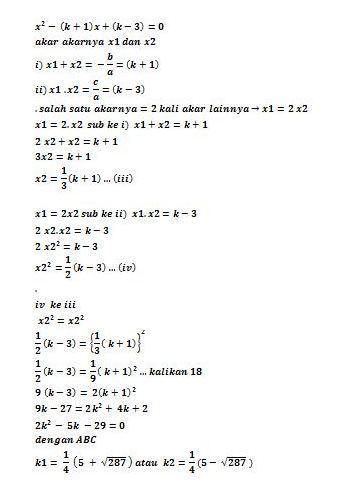 Salah Satu Akar Persamaan Kuadrat : salah, persamaan, kuadrat, Salah, Persamaan, Kuadrat, X²-(k+1)x+(k-3)=0, Yaitu, Lainnya, Nilai, Brainly.co.id