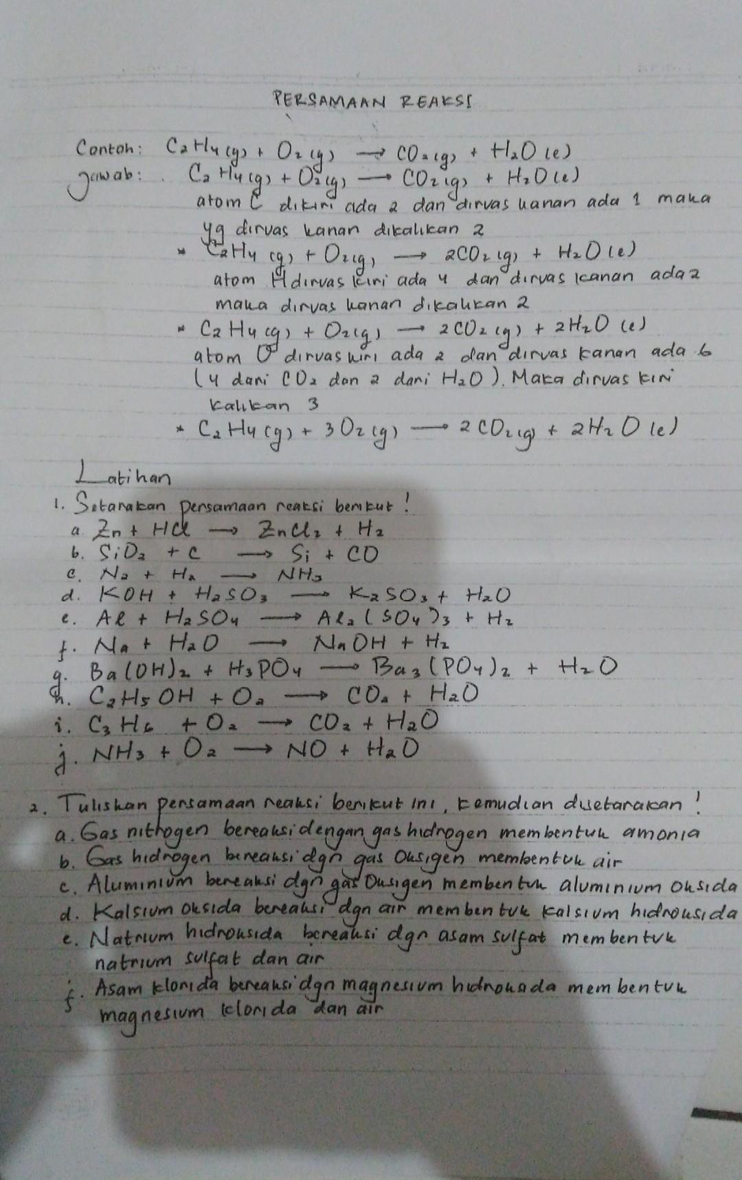 Contoh Soal Kimia Kelas 10 : contoh, kimia, kelas, Tolong, Bantu, Kimia, Kelas, Materi, Persamaan, Reaksi.., Brainly.co.id