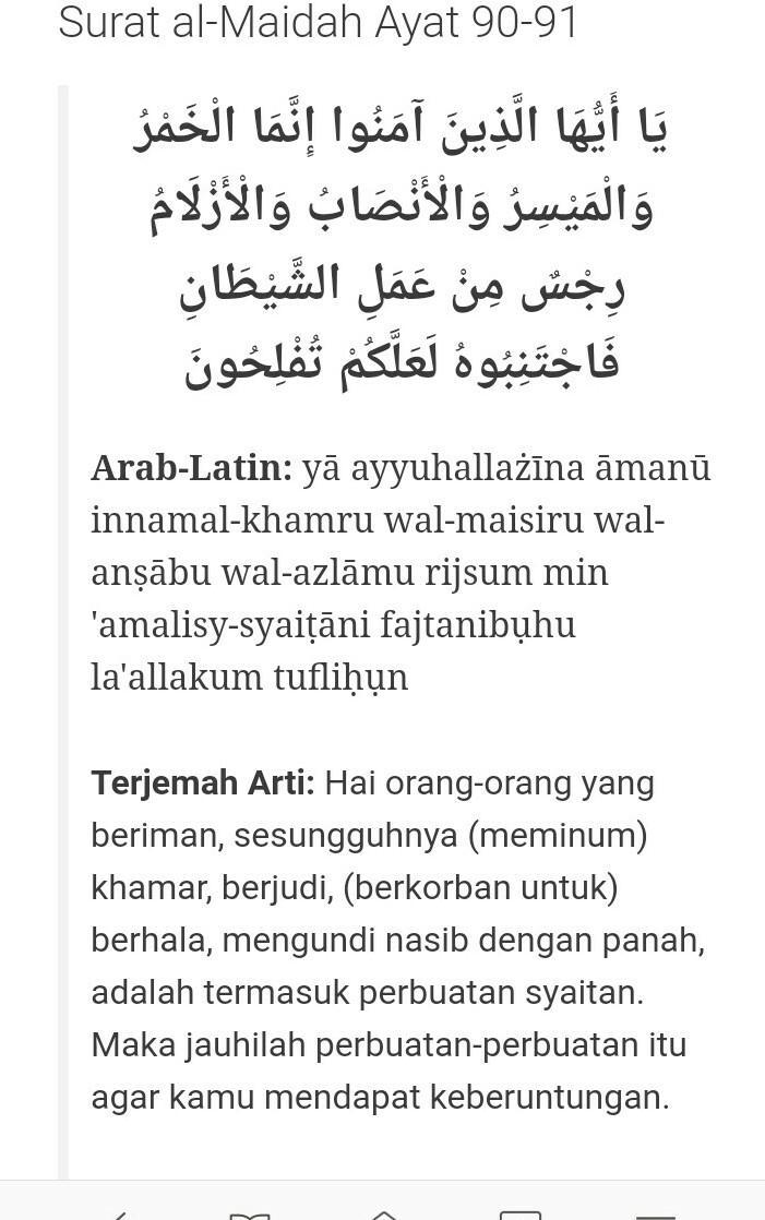 Al Maidah Ayat 90 : maidah, Bunyi, Surah, Maidah/5:, 90-91, Brainly.co.id