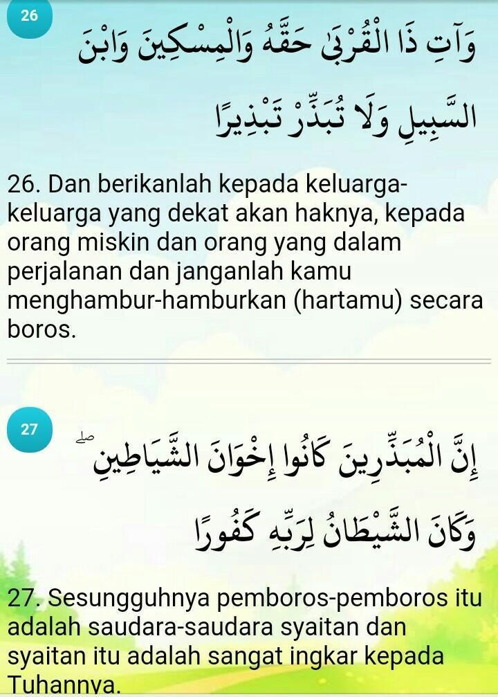 Al Isra Ayat 26-27 : 26-27, Hukum, Bacaan, 17:26-27, Brainly.co.id