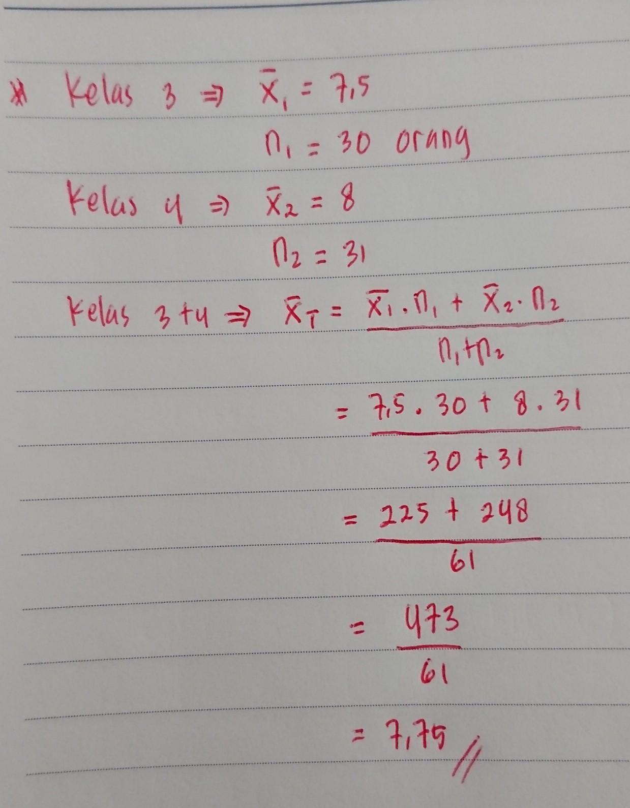 Nilai Rata Rata Bahasa Indonesia Siswa Kelas 3 Adalah 7 5
