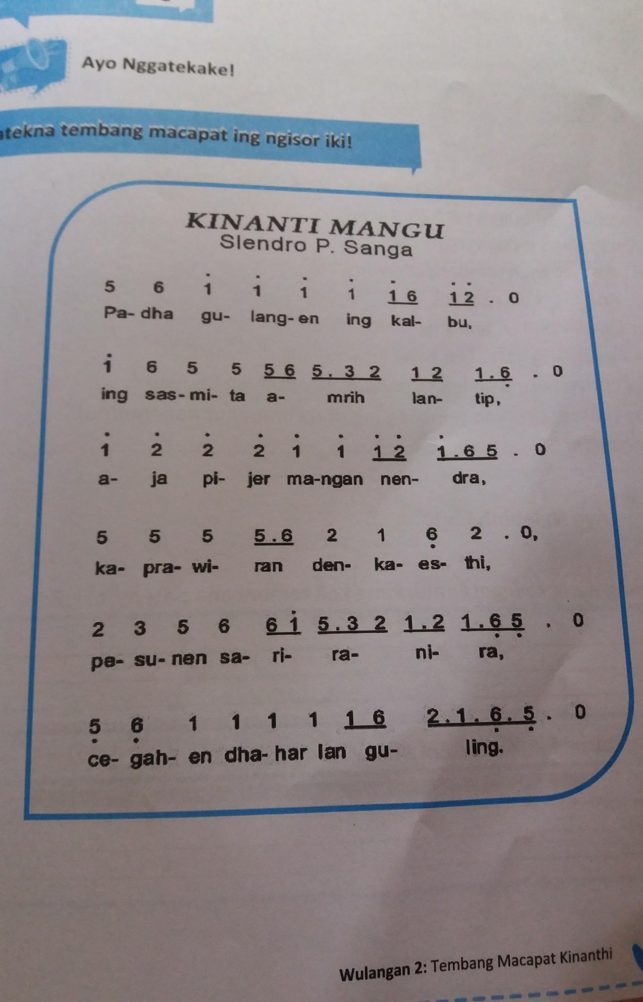 √21 + Tembang Kinanthi dan Penjelasan (Contoh, Paugeran