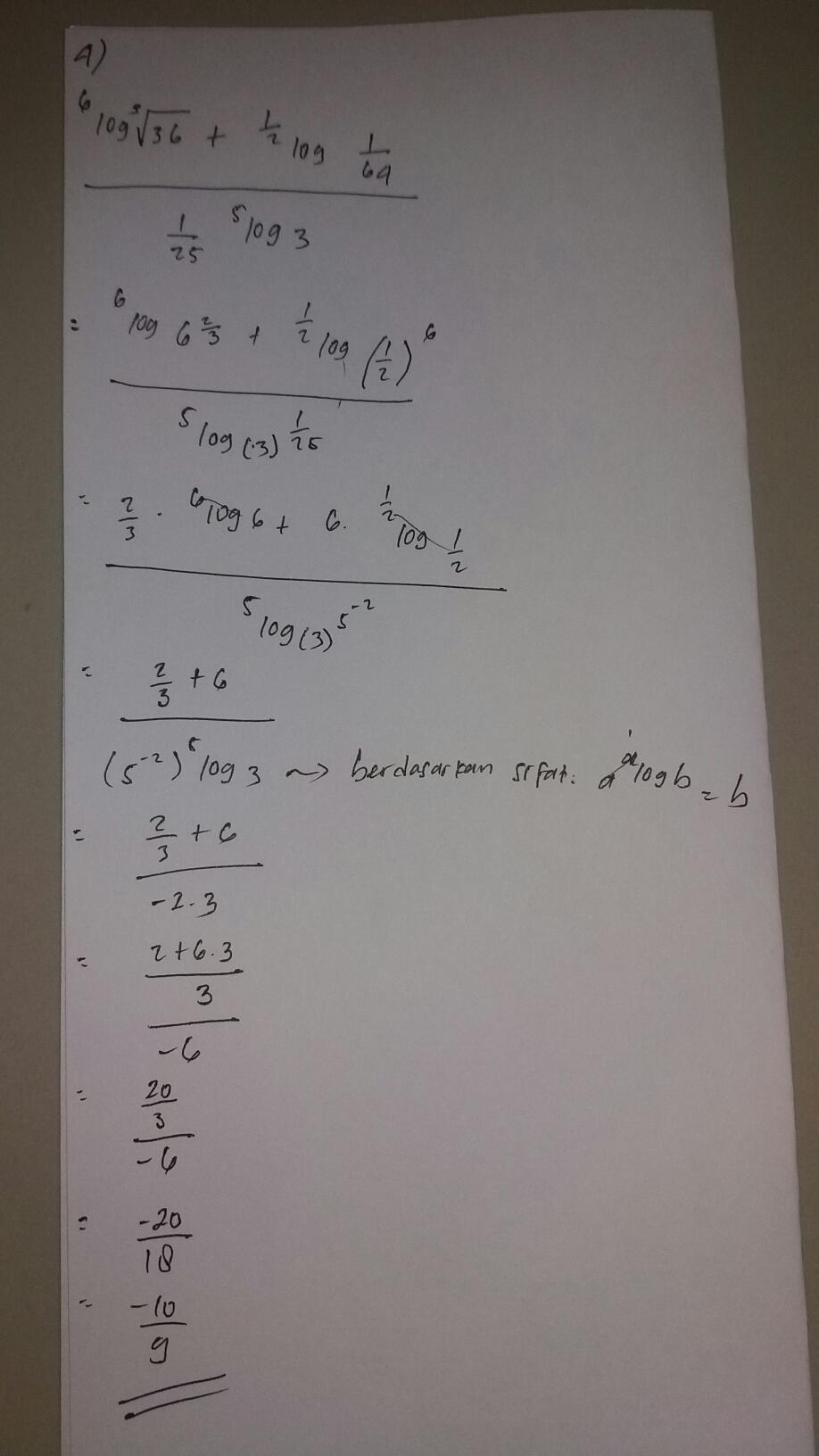 Kunci jawaban pelajaran english, geografi, mathematic game bully. nilai dari 6 log 3 akar 36 + 1/2 log 1/64 per 1/25 5 log 3