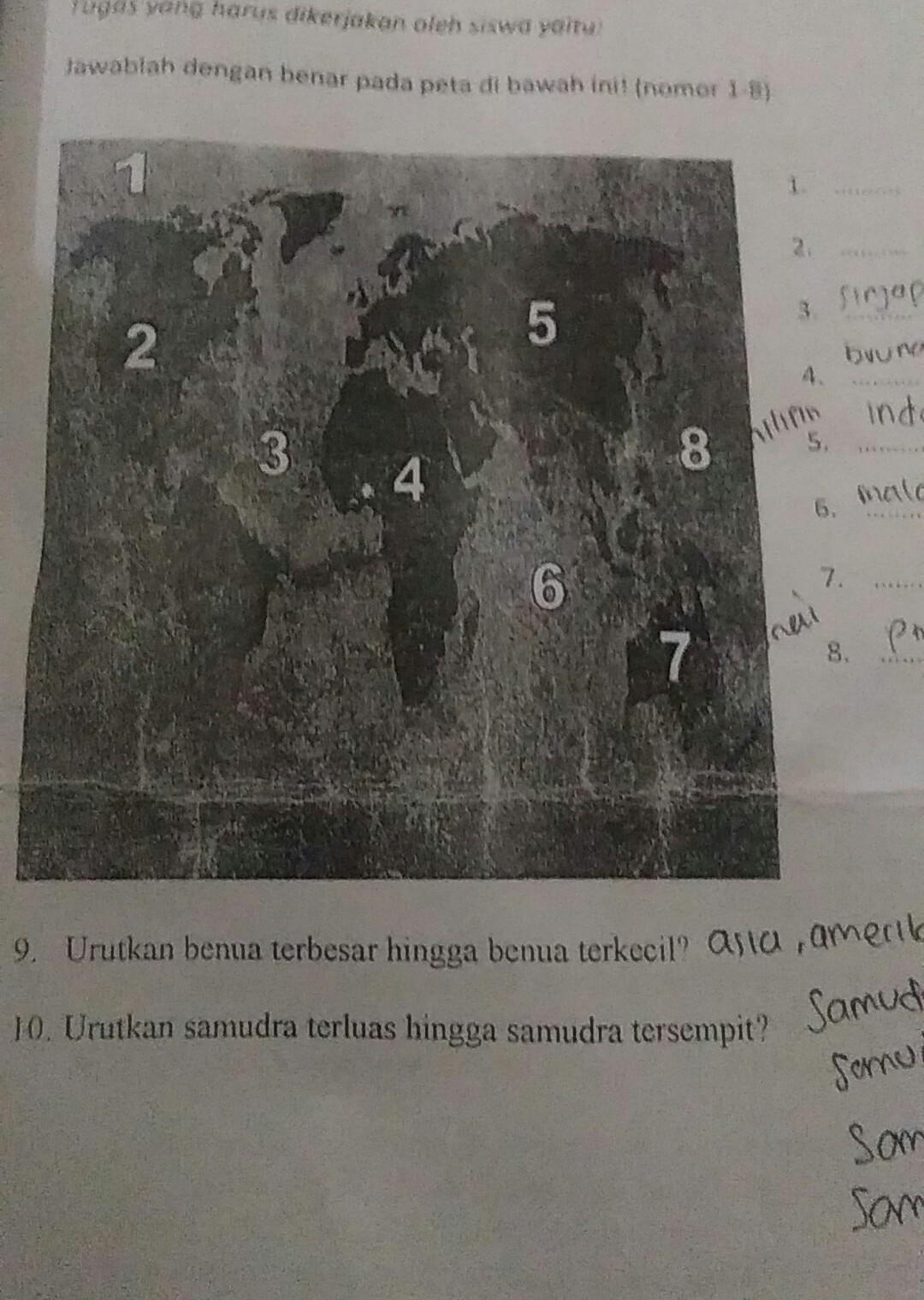 Peta Buta Asia Tenggara : tenggara, Jawablah, Dengan, Benar, Dibawah, Tenggara, Bagian-bagian, Benua, Samudra, Brainly.co.id