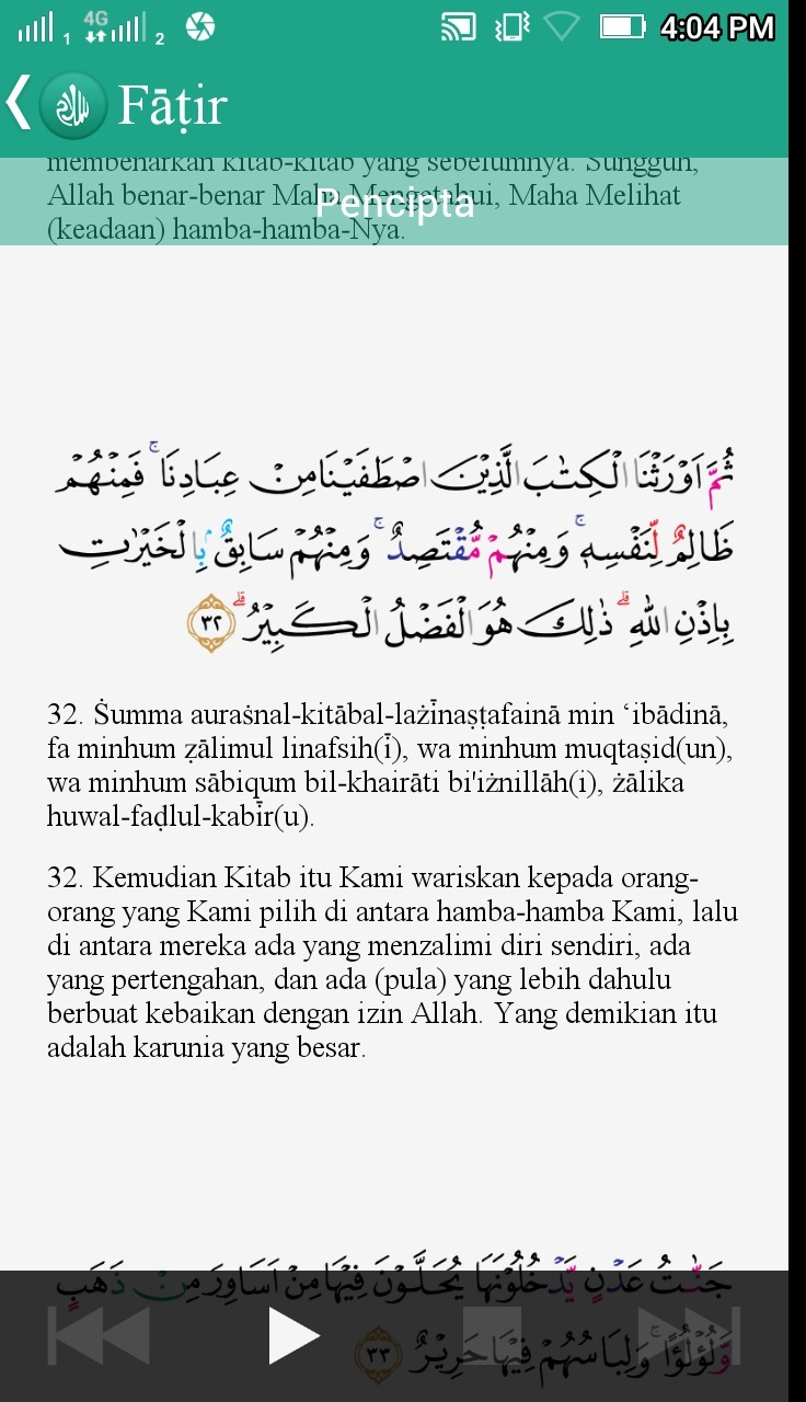 Qs Al Fatir 32 : fatir, Bacaan, Surat, Fatir, Latinnya, Brainly.co.id