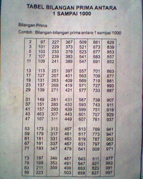 Bilangan Prima 1-1000 : bilangan, prima, 1-1000, Bilangan, Prima, Sampai, 1000., Tidak, Boleh, Salah, Brainly.co.id