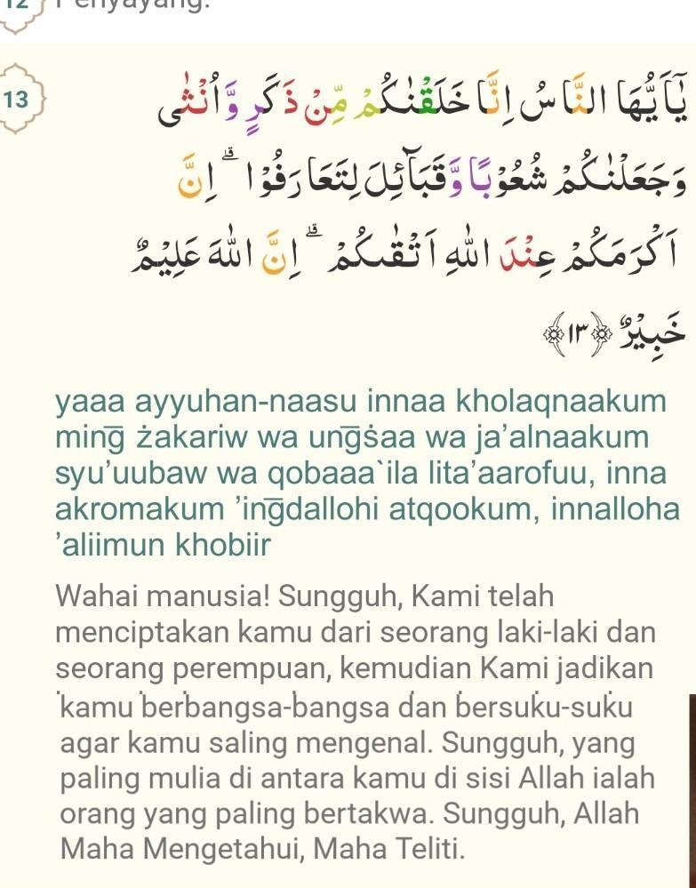 Surah+Al+hujurat+ayat+13   Tafsirq.com