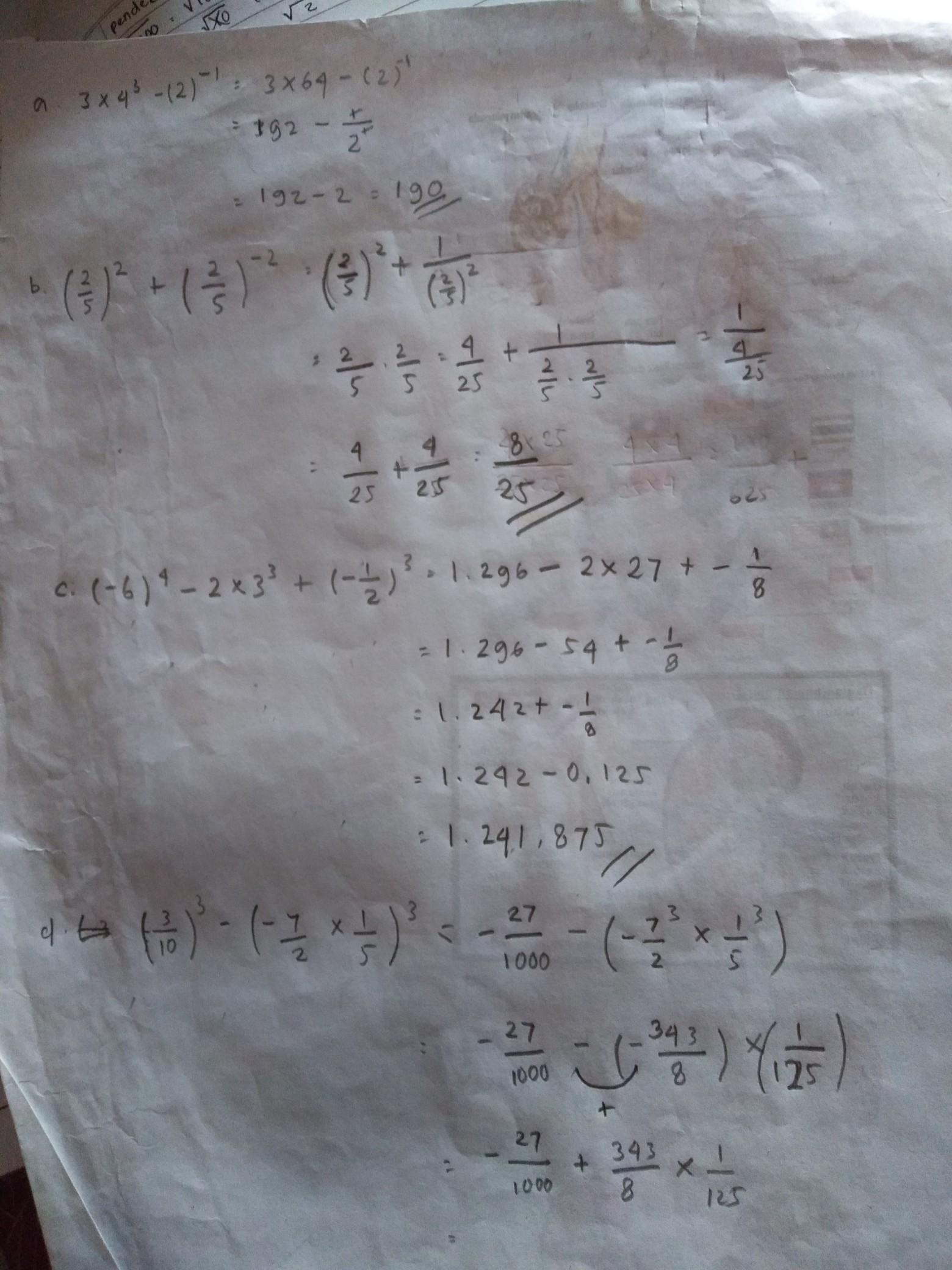 Tentukan Hasil Operasi Bilangan Berpangkat : tentukan, hasil, operasi, bilangan, berpangkat, Tentukan, Hasil, Operasi, Bilangan, Berpangkat, Berikut, 3×4³-2^-1, B.(2/5²)+(2/5)^-2, Brainly.co.id