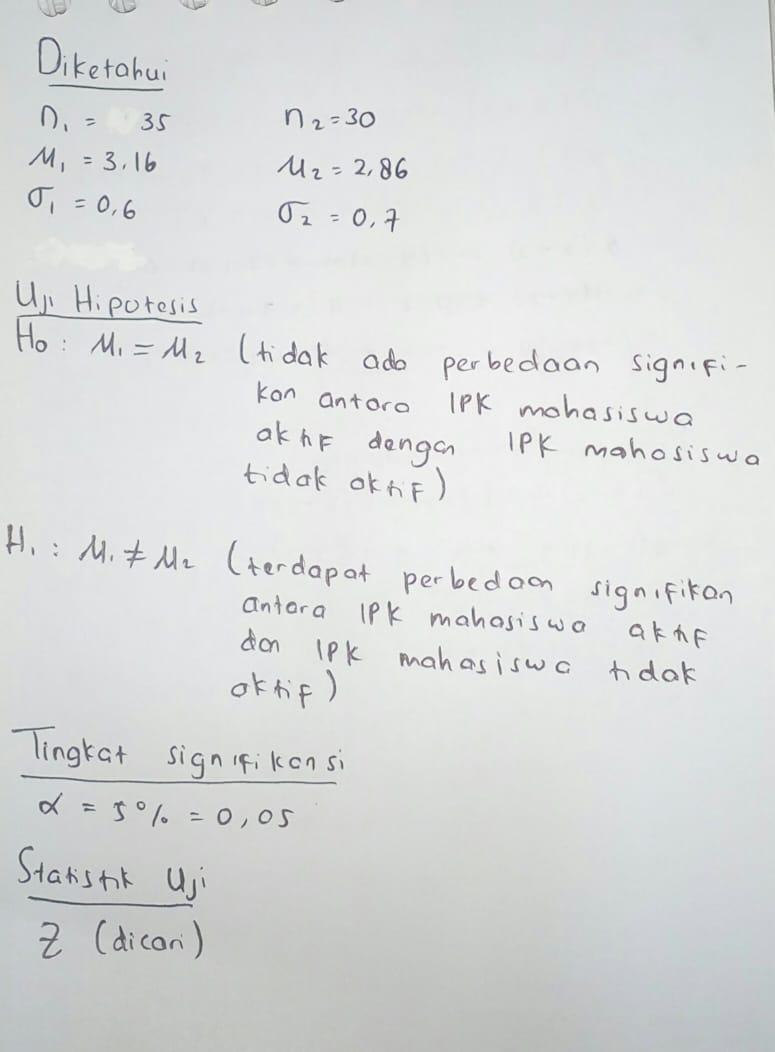 Contoh Soal Uji Hipotesis : contoh, hipotesis, Sebuah, Penelitian, Ingin, Membandingkan, Indeks, Prestasi, Kumulatif, (IPK), Antara, Mahasiswa, Tidak, Brainly.co.id