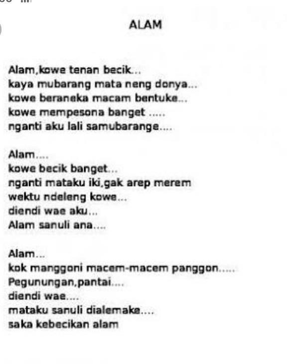 Puisi Bahasa Jawa Tentang Lingkungan : puisi, bahasa, tentang, lingkungan, Puisi, Bahasa, Lingkungan, Brainly.co.id