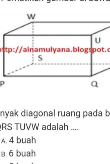 Diagonal Sisi Balok : diagonal, balok, Banyak, Diagonal, Ruang, Balok, Adalah:A., BuahB., BuahC., BuahD., BuahMohon, Brainly.co.id