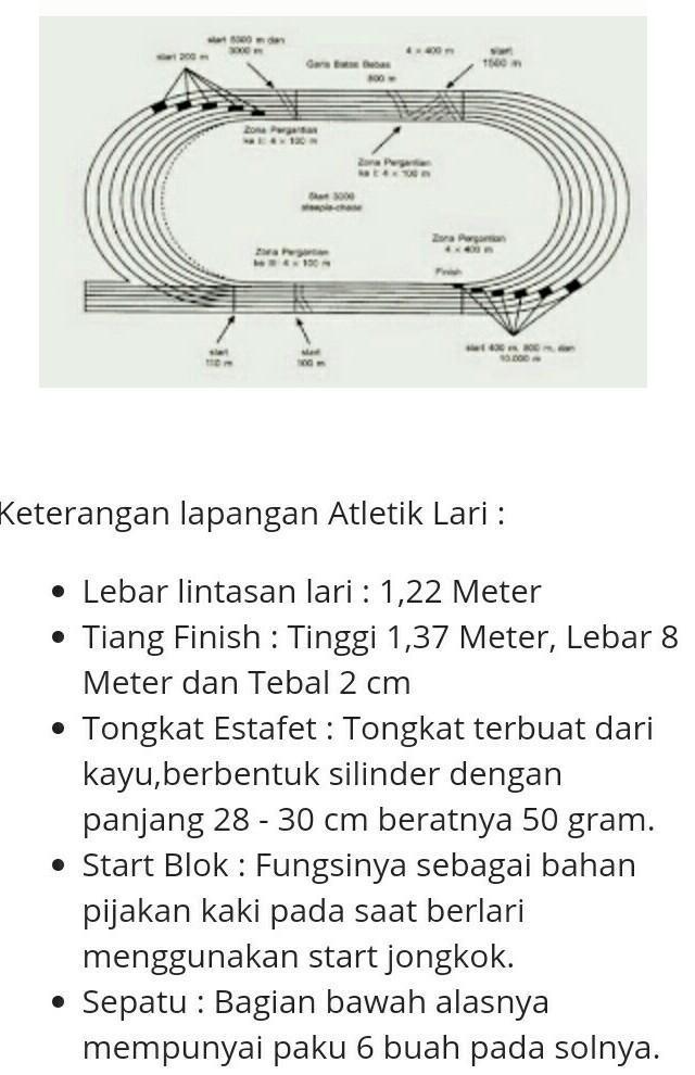 Ukuran Lapangan Lari : ukuran, lapangan, Gambar, Lapangan, Atletik, Beserta, Ukurannya, Brainly.co.id
