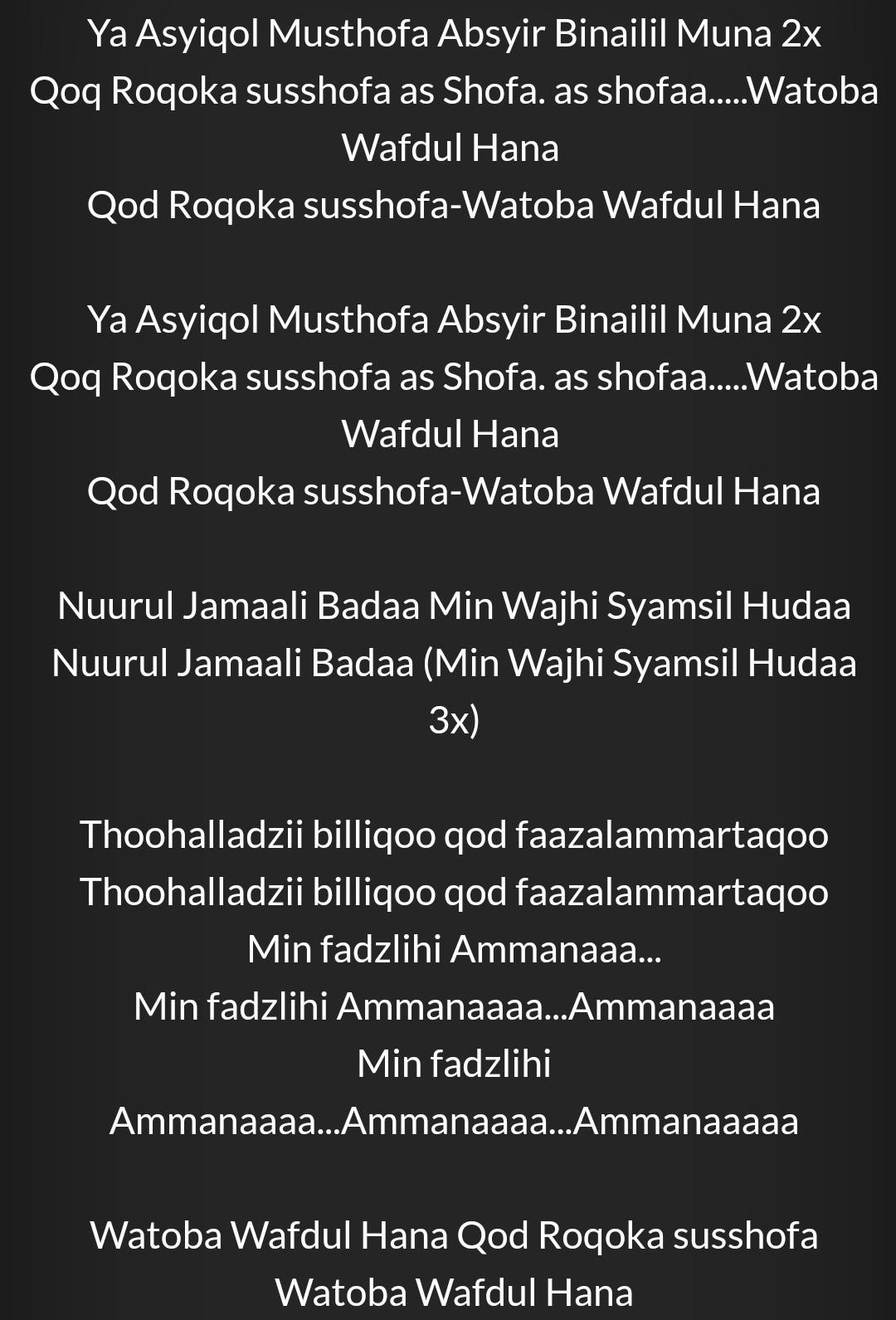 Chord Gitar & Lirik Ya Asyiqol Musthofa - Sabyan Gambus