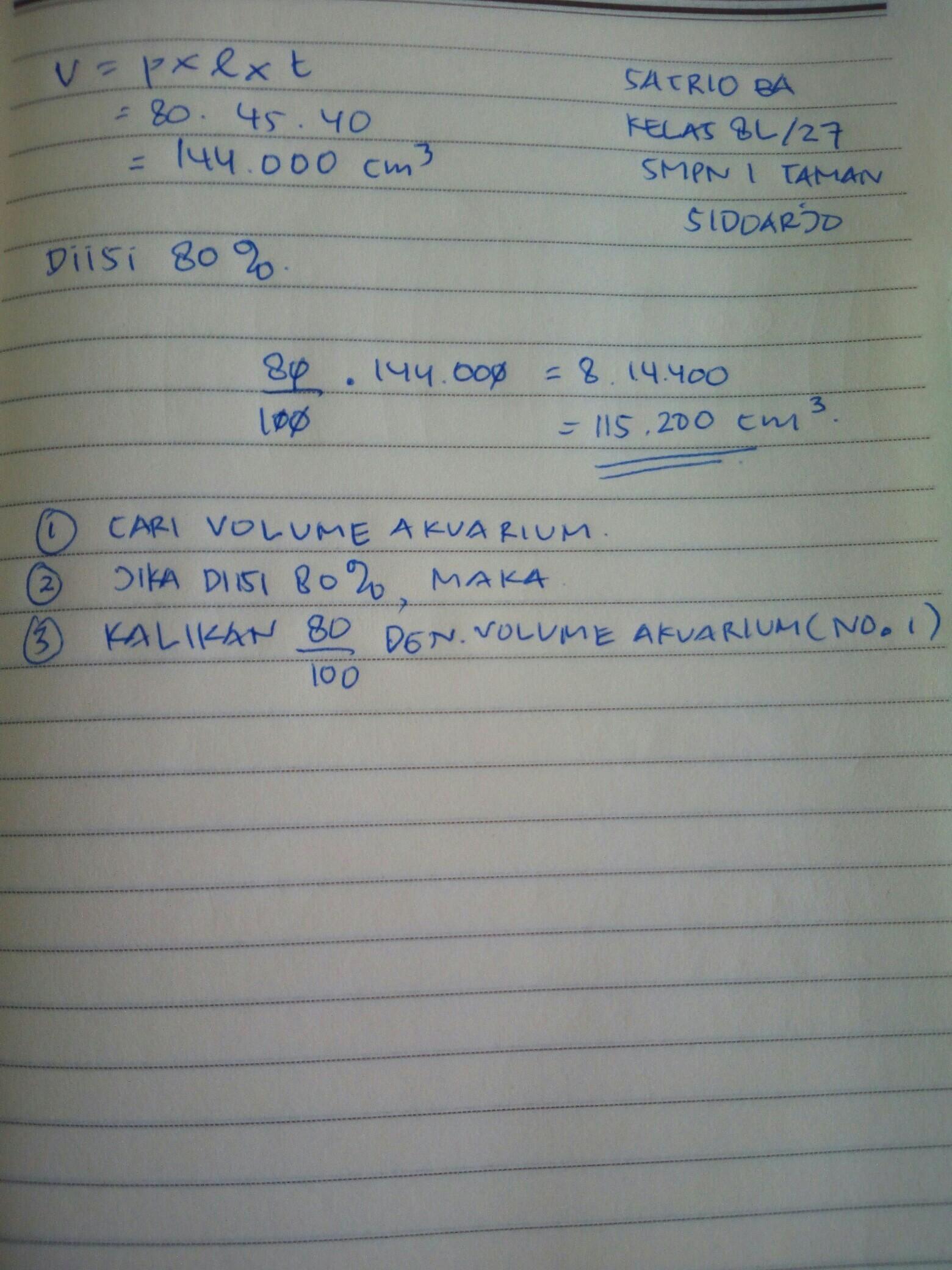 Menghitung Volume Air : menghitung, volume, Indri, Menghitung, Volume, Dalam, Aquarium, Dengan, Ukuran, Masing, Berapa, Brainly.co.id