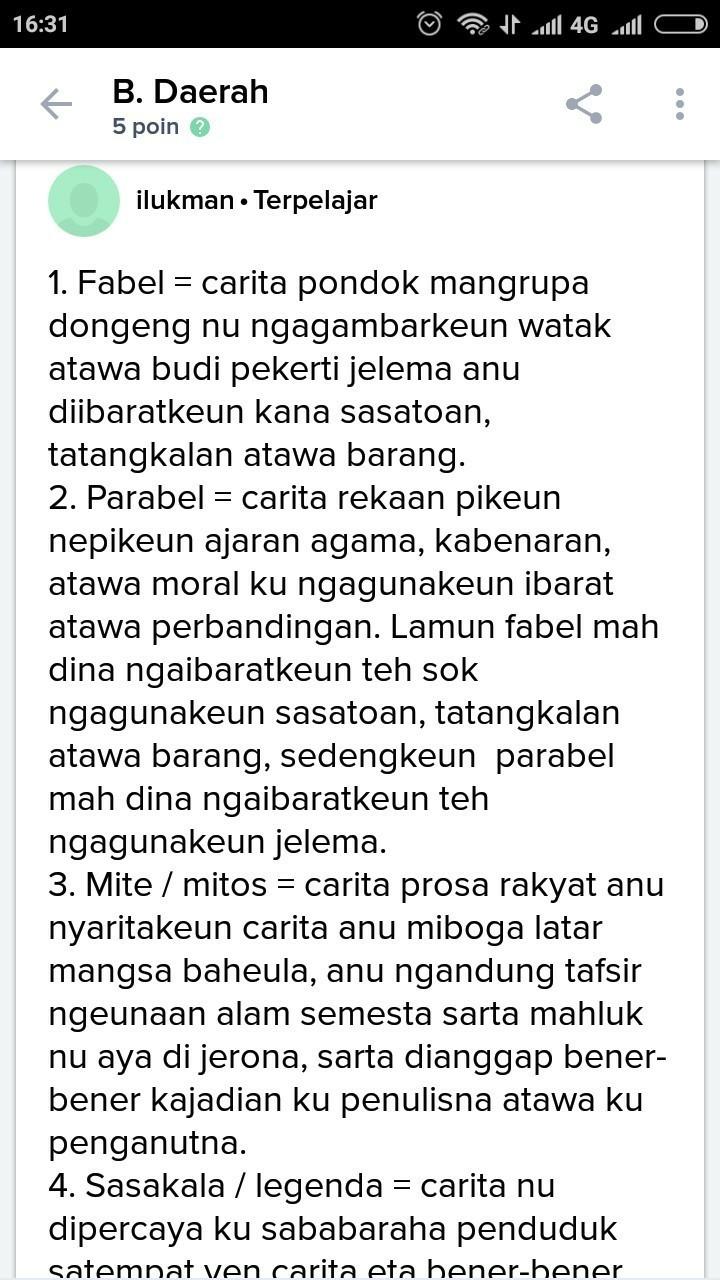 Pengertian Dongeng Bahasa Sunda : pengertian, dongeng, bahasa, sunda, Pengertian, Fabel, Dalam, Sunda, Adalah, Brainly.co.id
