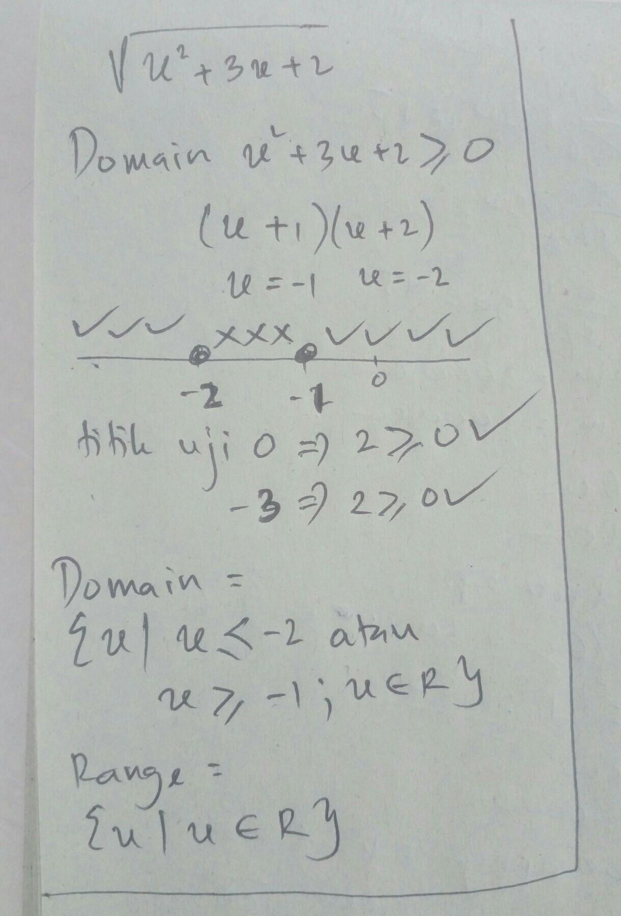 Tentukan Domain Dan Range Dari Fungsi Berikut : tentukan, domain, range, fungsi, berikut, Tentukan, Domain, Range, Fungsi, Berikut, √(x^2+3x+2), Brainly.co.id