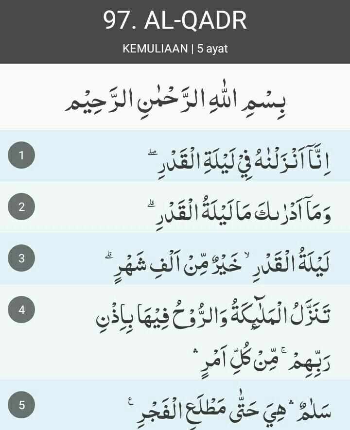 Surat Al Qadr Ayat 1-5 : surat, Qomariah, Dalam, Surat, Al-qadr, Brainly.co.id