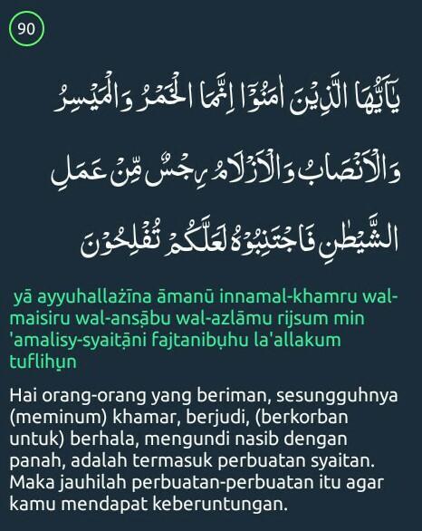 Al Maidah Ayat 90 : maidah, Surah, Maidah, Beserta, Artinya