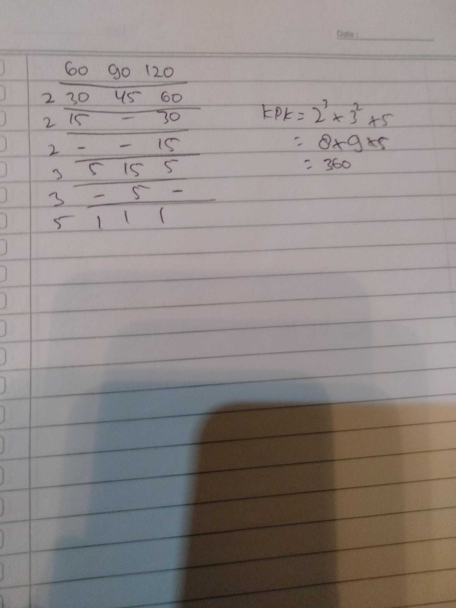 Faktorisasi Prima Dari 60 : faktorisasi, prima, Faktorisasi, Prima, 60,90,dan120, Brainly.co.id