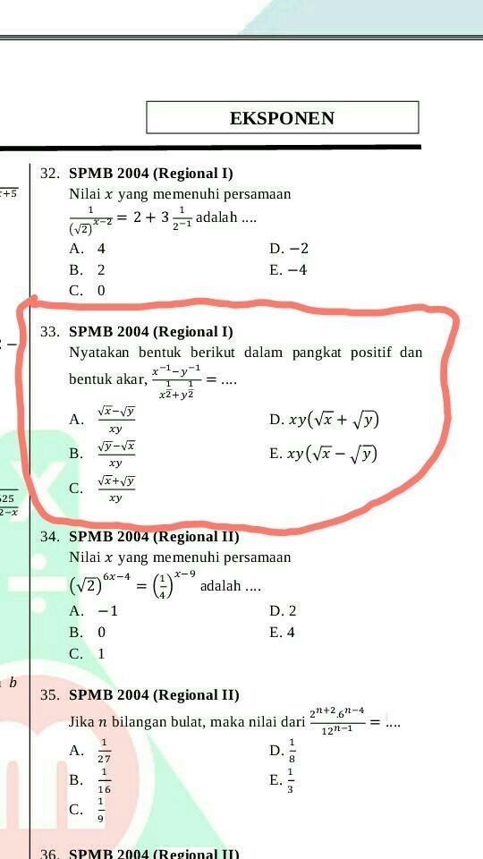 Akar Dalam Akar : dalam, No.33, .SPMB, (Regional, I)Nyatakan, Bentuk, Berikut, Dalam, Pangkat, Positif, Brainly.co.id