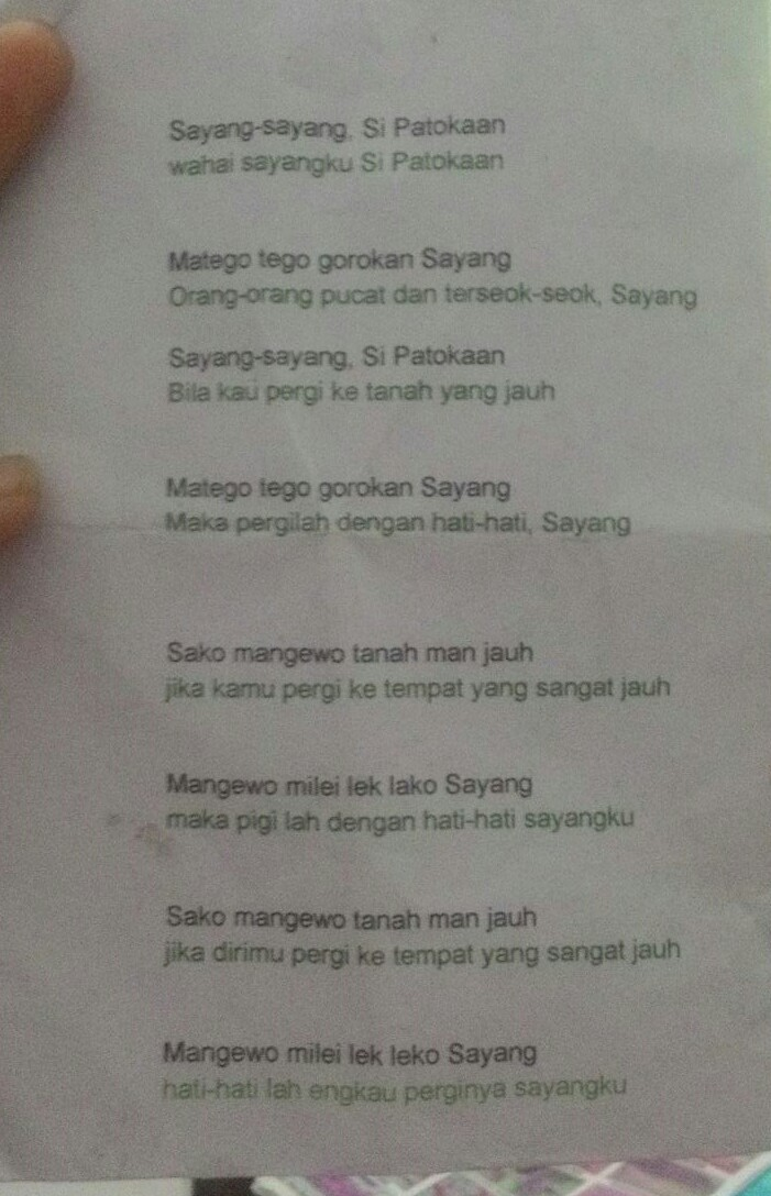 Lirik Lagu Si Patokaan : lirik, patokaan, Sipatokaan, Dalam, Bahasa, Indonesia, Brainly.co.id