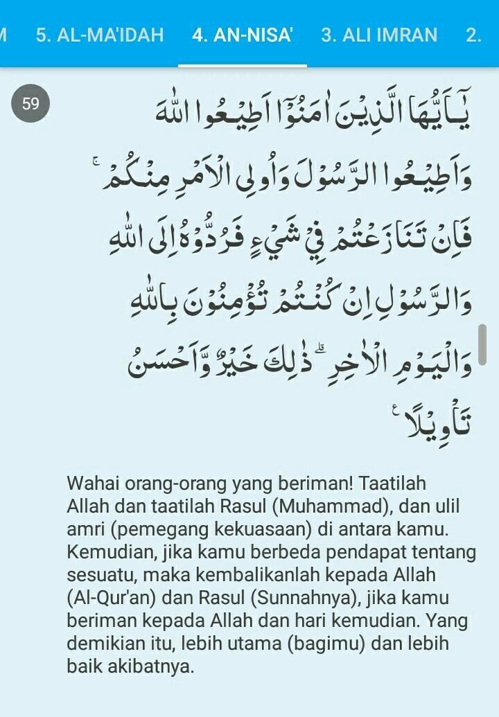 Surah An-nisa Ayat 59 : surah, an-nisa, Contoh, Komariah, Surat, Brainly.co.id