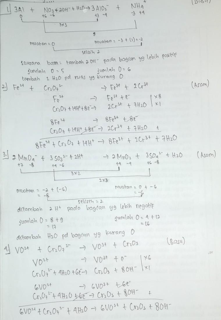 Metode Setengah Reaksi : metode, setengah, reaksi, Tentukan, Penyetaraan, Reaksi, Redoks, NO₃, AlO₂⁻, NH₄⁺, (Metode, Biloks/Suasana, Brainly.co.id