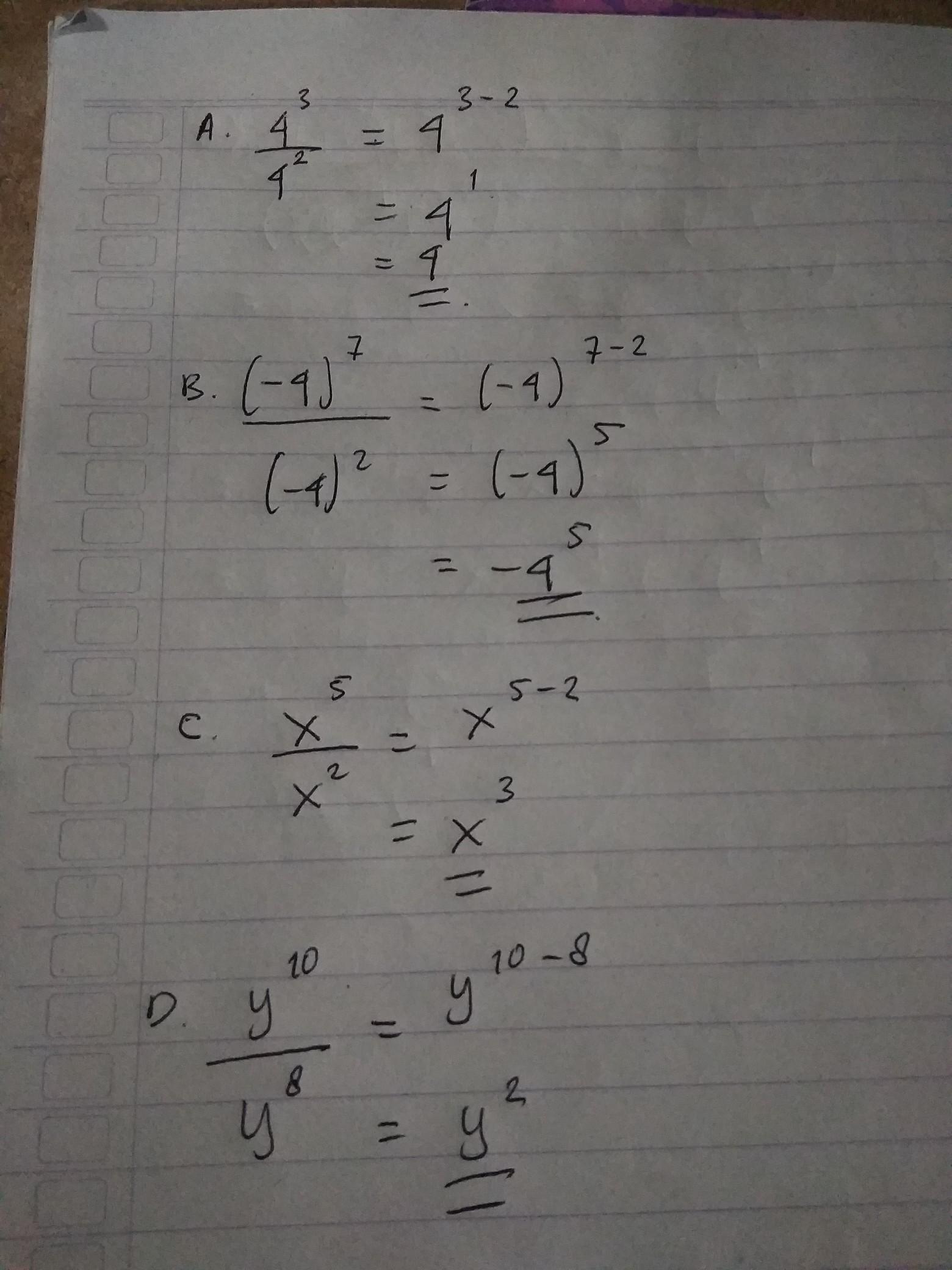 Pembagian Bilangan Berpangkat : pembagian, bilangan, berpangkat, Sederhanakanlah, Bentuk, Pembagian, Bilangan, Berpangkat, Berikut, Ini!A)., 4³per, 4²B)., (-4)pangkat, Brainly.co.id