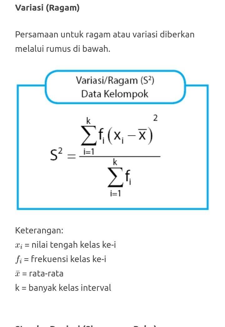Rumus Simpangan Baku Data Tunggal : rumus, simpangan, tunggal, Ragam, Simpanan, Untuk, Berkelompok, Brainly.co.id