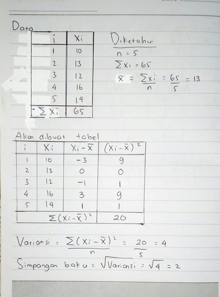 Simpangan Rata-rata (Deviasi Mean) - Rumus Statistik