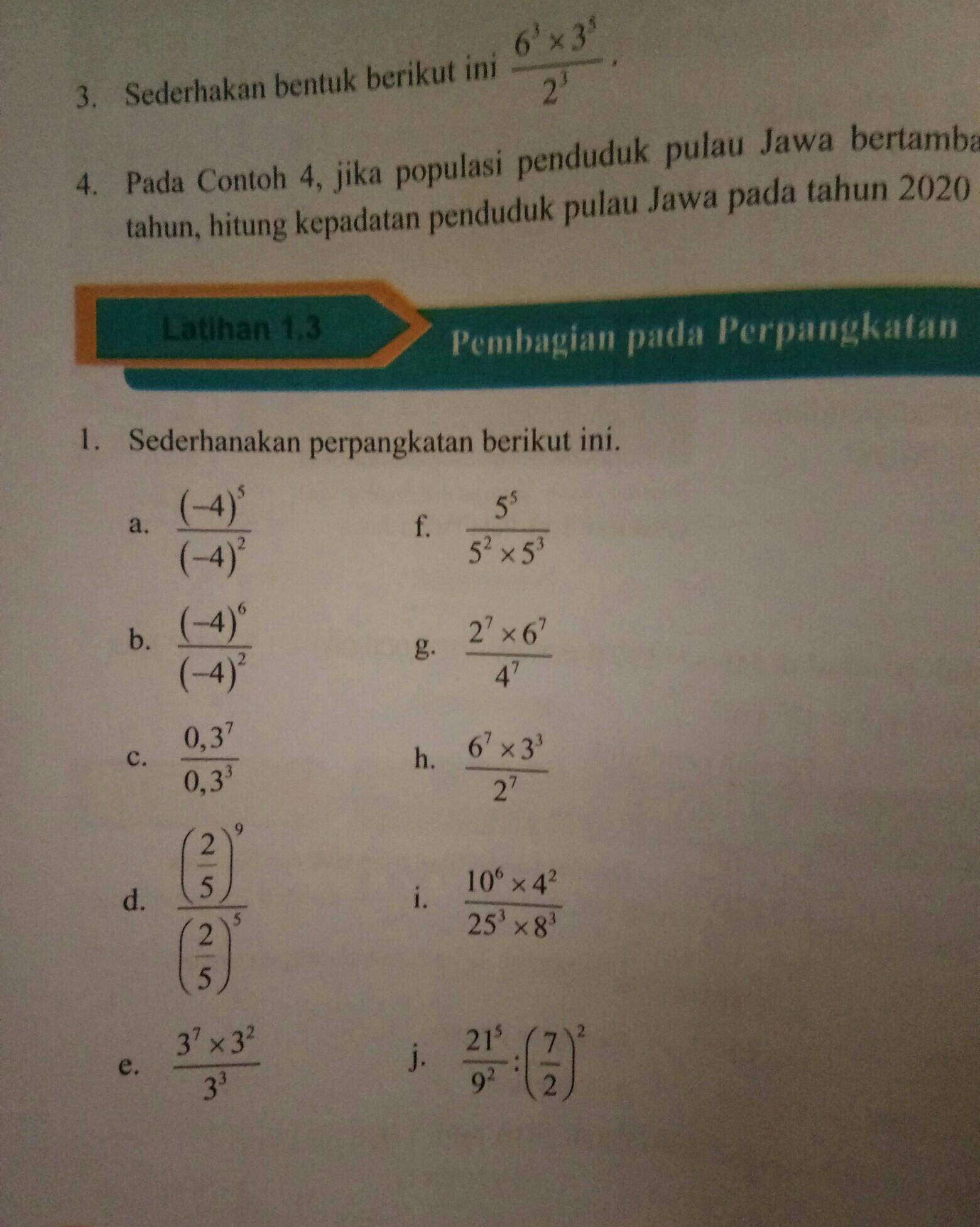 Sederhanakan Perpangkatan Berikut Ini Latihan 1.2 Kelas 9 : sederhanakan, perpangkatan, berikut, latihan, kelas, Latihan, Pembagian, Perpangkatan, Sederhanakan, Berikut, .bagian, Brainly.co.id