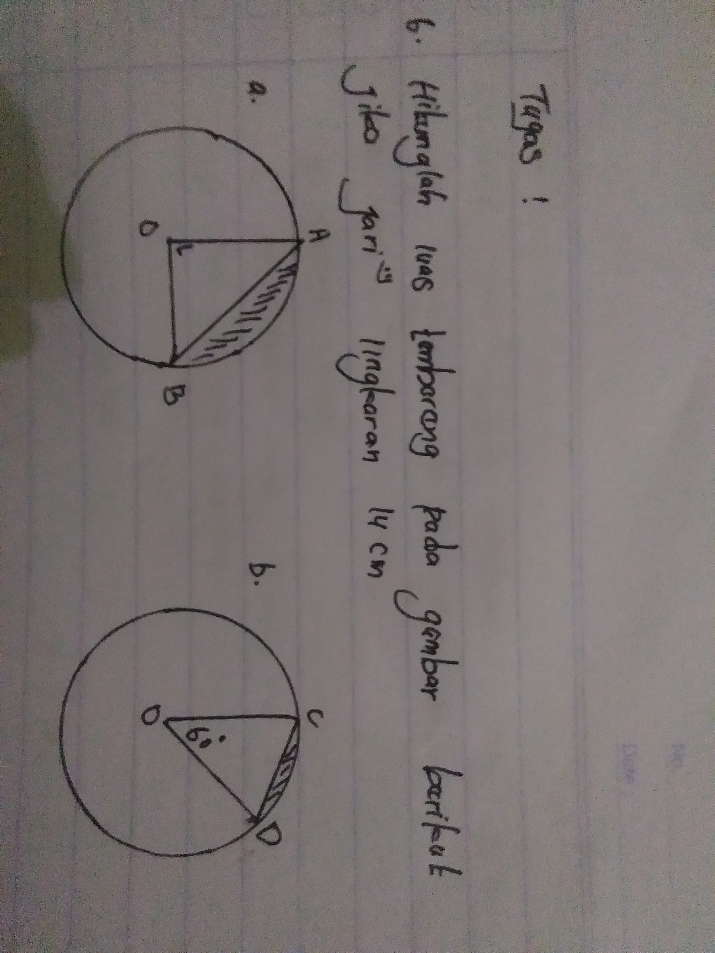 Luas Tembereng Lingkaran : tembereng, lingkaran, Hitunglah, Tembereng, Gambar, Berikut, Jari