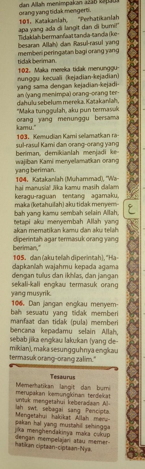 Qs Yunus 101 : yunus, Sebab, Turunnya, Yunus, Brainly.co.id